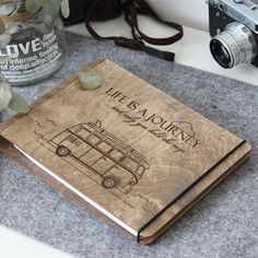 """Drevený zápisník """"Life is a Journey"""" Honeymoon Gifts, Rustic Wedding Guest Book, Journal Diary, Wedding Scrapbook, Wedding Album, Cat Lover Gifts, Engagement Couple, Gifts For Her, At Least"""