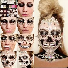 Step by Step Opulent Punk Skull ☠️✨ As promised, here is my process for creating my Glam Punk inspired skeleton makeup. For the EYES I used Shu Uemura ME Black paint pot liner and blending over the entire lid, Urban Decay Moon dust Palette 'Granite' and 'Galaxy' then highlighting with Ben Nye Lumière Lux Powder in LX-100 'Ultra Bright', lined the eyes with MAC Chromagraphic Pencil in 'Black Black' and finished the look with Illamasqua silver crystal lashes. For the SKULL ☠️ I alway...
