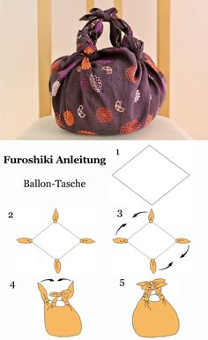 Furoshiki Anleitung - Ballon Tasche #Furoshiki