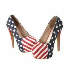 $15.93 Elegant Fashion Womens Stiletto Heel Pumps With Stars and Stripes Printed Design
