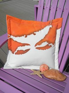 Crab beach Dungeness gyotaku pillow 20x20painted Crabby Chris Original copyrighted design