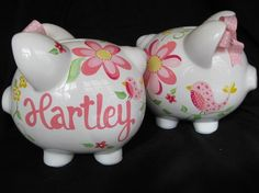 piggy bank hand painted personalized by andrewandelladesigns, $29.50