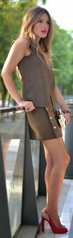 Zara Chocolate Sleeveless Wrap Top Side Button Up Skirt Summer Suit by Mi Aventura Con La Moda