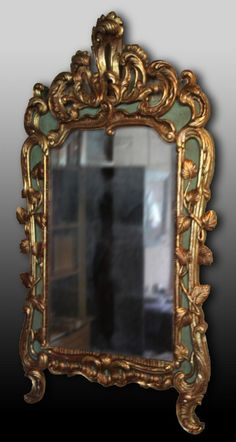 Rich #mirror in carved, #gilded and lacquered #wood. #18thcentury. For sale on #Proantic by Antiquités Le Clos de Lutaine.