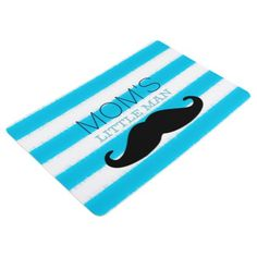 Mom's Little Man with a Mustache Funny Saying Floor Mat - modern gifts cyo gift ideas personalize