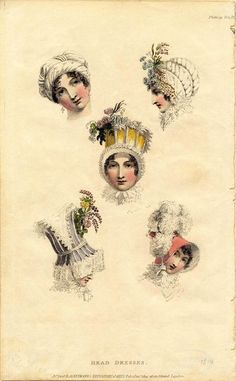 Fashionable headdresses, Ackermann's Repository, 1814