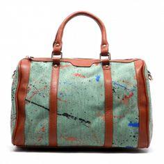 Purse-tensity: Mint Green Paint Splash Camel Brown Stripe Accent Canvas Tote Handbag Purse