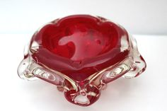 Vintage Murano Pinky Red Glass Bowl With Clear Glass Casing Daisy Shaped