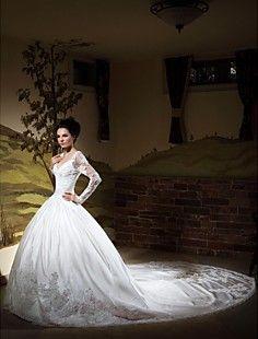 Ball Gown V-neck Long Sleeves Chapel Train Satin Wedding Dre... – USD $ 347.99