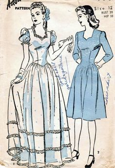 Vintage 1944 Advance 3756 Sewing Pattern Misses' Formal Dress.  Love the dress on the right