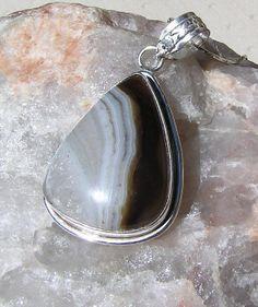 Brown Striped Onyx Crystal Gemstone Pendant - OOAK