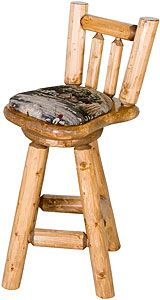 """These Pine Log bar stools are specifically engineered to be the most comfortable log chair you've ever sat in!  Features an upholstered, cushioned seat that is securely attached to the 2"""" thick swivel seat, and a curved back rest with contoured spindles so they don't impact your back or spine. View and select your favorite finish and fabric pattern below."""