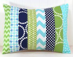 Pillow Cover - 12 x 16 Inches - Aqua Blue, Navy and Green Chevron via Etsy