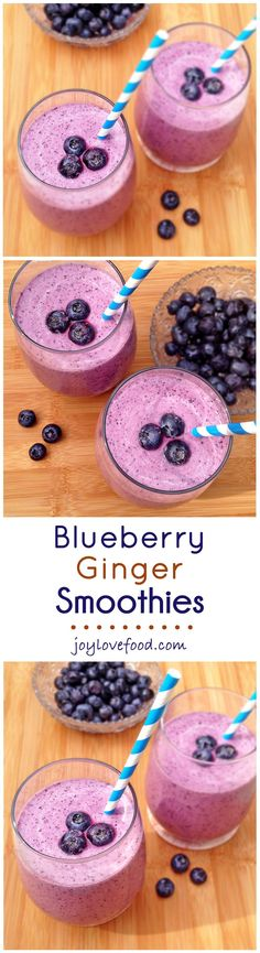 Blueberry Ginger Smoothies - Creamy, sweet and a little bit spicy, this delicious smoothies are packed full of antioxidants and fiber, and are perfect for a healthy breakfast or snack anytime.