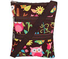 Owl Pattern With Brown Trim Women's Crossbody Hipster Messenger Bag Handbag