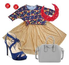A LuLaRoe Irma tunic knotted for a high waist pairs well with a Madison skirt. Accessorize with red jewelry and blue shoes for the perfect outfit. Created with Polyvore.