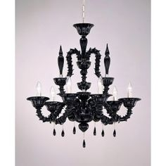 6 Lights Murano chandelier Black