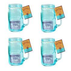 Kilner Blue Handled Drinking Jar Glasses Set of 4 400ml