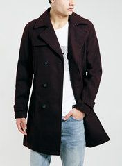 BURGUNDY BELTED  WOOL BLEND TRENCH COAT