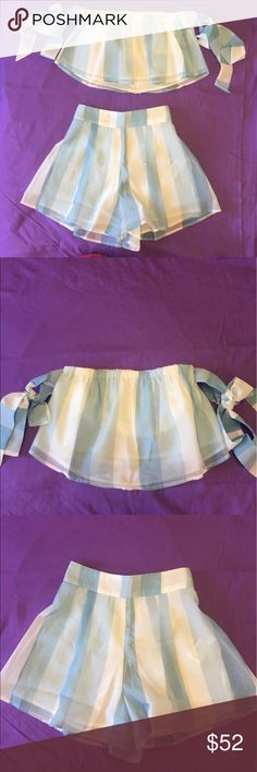 Adorable off the shoulder blue striped sets - S Hiiiii gals, look at my beautiful set! Super adorable two pieces - top and bottoms. Silky material. I am a crazy fan of set and very sad it is too big for me. I got them a local store with the thought that I could fix it. But it costs me a lot extra for alteration, so I decided to sell. Price is Firm.   You will love them gals! Tag Lulus for exposure , L'atiste, Asos, sabo skirt, hello Molly, nasty gal, Hollister, urban outfitters, Tobi. lulus…