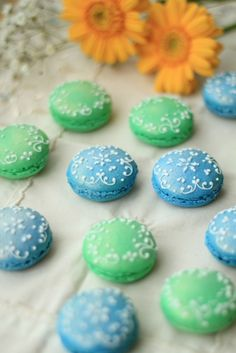 Green and blue macarons