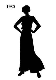 1930 to 1940 Free Black Silhouettes in Costume History - Fashion History, Costume Trends and Eras, Trends Victorians - Haute Couture Silhouette Pictures, Black Silhouette, Silhouette Cameo, 30s Fashion, Fashion History, Fashion Art, Free Black, Black And White, Black Costume