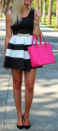 Stripes....love this dress!! So cute and it can go with any bag/shoes you pair it with!! make this outfit best for you :) click the photo