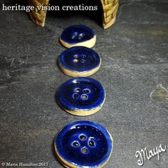 Fairy Garden Stepping Stones Set #95 | Round Stoneware Buttons, Set of 4, Dark Blue  | Fairie Garden Accessory by HeritageVision on Etsy