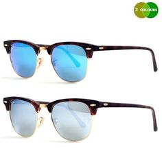 06aa984e908 NEW RAY BAN CLUBMASTER RB3016 1145 49MM HAVANA   BLUE OR GREY MIRROR  SUNGLASSES