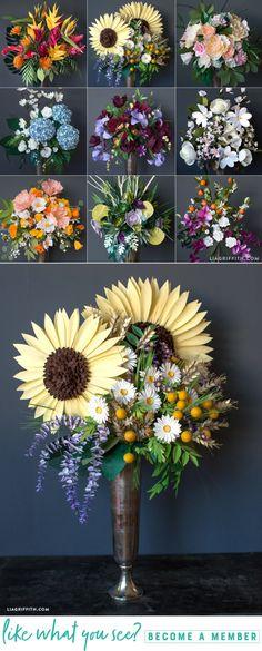 DIY Giant Paper Flower Bouquets www.LiaGriffith.com #PaperFlowers #PaperFlower #DIYPaperFlowers #CricutMaker #CricutMade #PaperFlowerTutorial #PaperSunflower #PaperDaisy #PaperWisteria #Papercut #PaperArt