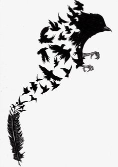 Dark Art Drawings, Pencil Art Drawings, Art Drawings Sketches, Raven Tattoo, Feather Tattoos, Body Art Tattoos, Vogel Silhouette, Bird Silhouette Art, Metamorphosis Art