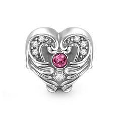 Heart In Wings Charm 925 Sterling Silver