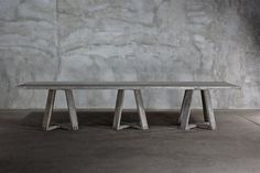 Reclaimed Elm Dining Table  | Clubcu  * Customize me for a long desk in office/bedroom.  Neato.