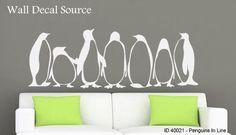 Artic Penguins Silhouettes Wall Decals - Flightless Bird Vinyl Modern Art Stickers on Etsy, $79.00