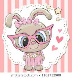 Cute Rabbit girl in pink eyeglasses. Cute cartoon Rabbit girl in pink eyeglasses with a bow vector illustration Cartoon Cartoon, Kids Cartoon Characters, Cute Cartoon Images, Cute Cartoon Girl, Cute Cartoon Animals, Cute Images, Cartoon Drawings, Animal Drawings, Cute Drawings
