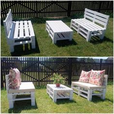 In this superbly designed wood pallet project, we have the creative placement of the furniture set for your garden area. This furniture set has been beautifully featuring with the couch set or the sofa set with the center table in it. It is being designed in simple blends that looks so decent and sophisticated for your garden location.