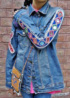 Reciclado Vintage Kuchi bohemio denim jeans chaleco étnico