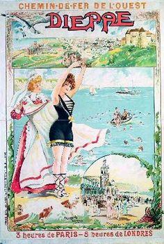 dieppe   Affiche Dieppe chemin de fer de l'Ouest 1900