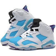 Girls New Air Jordan 6 (VI) Retro GS White Blue Purple For Sale Online