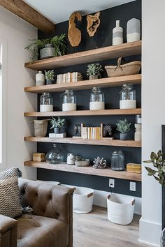 My Home Interior Decorating Book and Decorating Book club Decoration Books is one of the best guides Home Living Room, Living Room Designs, Living Room Decor, Living Room Shelves, Shelf Ideas For Living Room, Dark Living Rooms, Narrow Living Room, Cottage Living Rooms, Room Wall Decor
