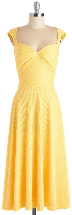 Mata Traders Got Something to Soothe A-Line Dress in Nautical Yellow Sundress, Yellow Midi Dress, Dapper Day Outfits, Cute Outfits, Cute Fashion, Fashion Outfits, Women's Fashion, Nice Dresses, Summer Dresses