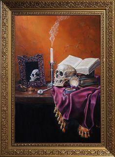 """Klassisches Stillleben Vanitas """"Skull-mirror-books And Candlestick"""""""