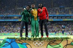 Silver medalist Francine Niyonsaba of Burundi, gold medalist Caster Semenya of South Africa and bronze medalist Margaret Nyairera Wambui of Kenya stand on the podium during the medal ceremony for the Women's 800 meter on Day 15 of the Rio 2016 Olympic Games at the Olympic Stadium on August 20, 2016 in Rio de Janeiro, Braz
