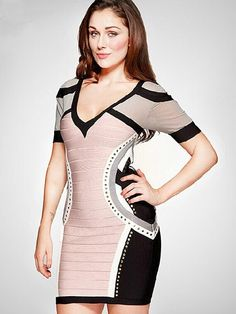 Herve Leger Sheer Mesh Studed Short Sleeve Bandage Dress Only $229  Brand:Herve Leger Style:Short sleeve dress Color:Nude and black Fabric:Rayon,Nylon and Spandex Origin:China