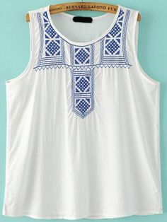 To find out about the Blue White Round Neck Embroidered Tank Top at SHEIN, part of our latest Tank Tops & Camis ready to shop online today! Latest Salwar Kameez Designs, Mexican Top, What Should I Wear Today, Cute Tank Tops, Office Outfits, Shirt Style, Blue And White, My Style, Clothes