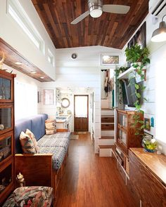 She's a single mom, designer, maker, and builder of the 350 square foot tiny house she now calls home. Tiny House Movement, Tiny Spaces, Tiny House Living, Tiny House Design, Tiny House On Wheels, Little Houses, Mini Houses, Small Space Living, Building A House