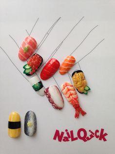 Irasshaimase! Sushi Nail designed by Nail Quick Azabu-Juban http://www.nailquick.co.jp/salon/azabujuban.html