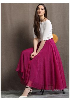 Beautiful Casual Dresses, Stylish Dresses For Girls, Stylish Dress Designs, Indian Gowns Dresses, Indian Fashion Dresses, Girls Fashion Clothes, Long Skirt And Top, Tops For Long Skirts, Pink Skirt Outfits