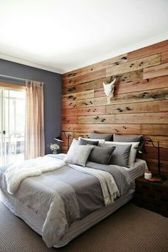 Cool greys and warm timber...love love love! Beautiful bedroom...only thing i would change, the curtain to white.