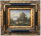 Country French Landscape Oil Painting Thatched Cottages In Antique Gold Frame